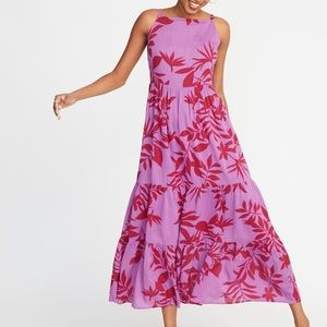 OLD NAVY Ruffle MAXI DRESS Tiered FLORAL PRINT M